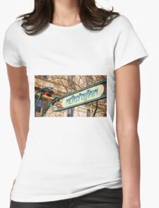 Paris Metro Sign Color Womens Fitted T-Shirt