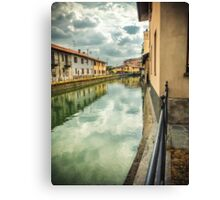 Italian canal with houses Canvas Print