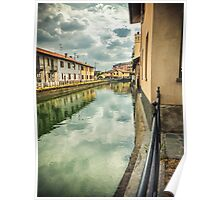 Italian canal with houses Poster