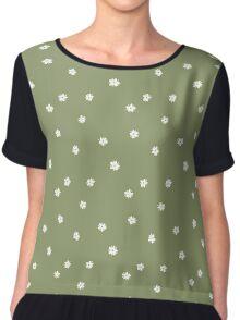 Elderflowers on green, sparse Chiffon Top