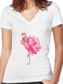 Flamingo Rose  Women's Fitted V-Neck T-Shirt