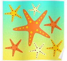 Starfish at the beach  Poster
