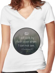 Faith Quote Women's Fitted V-Neck T-Shirt
