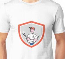 Barber Holding Scissors Comb Cartoon Unisex T-Shirt
