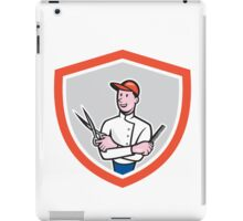 Barber Holding Scissors Comb Cartoon iPad Case/Skin
