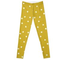 Elderflowers on ochre, sparse Leggings