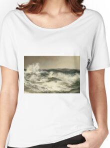 Thomas Moran - The Much Resounding Sea. Sea landscape: sea view,  yachts,  holiday, sailing boat, coast seaside, waves and beach, marine, seascape, sun clouds, nautical, ocean Women's Relaxed Fit T-Shirt