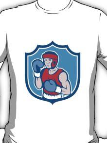 Amateur Boxer Stance Shield Cartoon T-Shirt