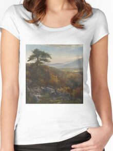 Thomas Moran - Valley Of The Catawissa In Autumn. Mountains landscape: mountains, rocks, rocky nature, sky and clouds, trees, peak, forest, rustic, hill, travel, hillside Women's Fitted Scoop T-Shirt