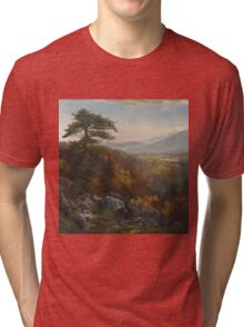 Thomas Moran - Valley Of The Catawissa In Autumn. Mountains landscape: mountains, rocks, rocky nature, sky and clouds, trees, peak, forest, rustic, hill, travel, hillside Tri-blend T-Shirt