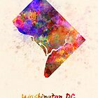 Washington DC US state in watercolor by paulrommer