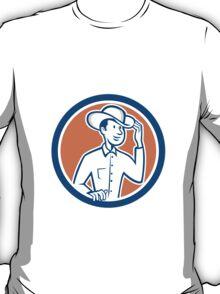 Cowboy Tipping Hat Circle Cartoon T-Shirt