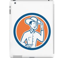 Cowboy Tipping Hat Circle Cartoon iPad Case/Skin