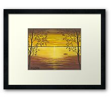 Kayaks In Golden Sunset Framed Print
