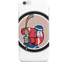 Field Hockey Player With Stick Cartoon iPhone Case/Skin