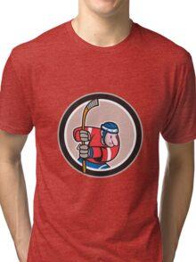 Field Hockey Player With Stick Cartoon Tri-blend T-Shirt