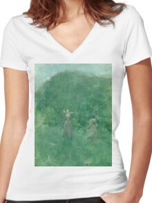 Thomas Wilmer Dewing - Summer. Forest view: forest , summer,  fauna, nature, flowers, woman, weekend ,dreams, love, charm, emerald Women's Fitted V-Neck T-Shirt
