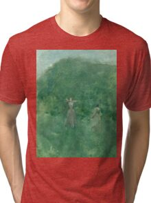 Thomas Wilmer Dewing - Summer. Forest view: forest , summer,  fauna, nature, flowers, woman, weekend ,dreams, love, charm, emerald Tri-blend T-Shirt