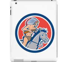Native American Indian Chief Riding Horse Cartoon iPad Case/Skin