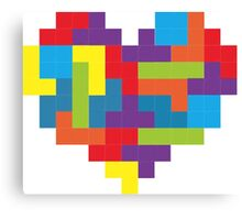 Tetris 8-Bit Heart  Canvas Print