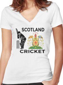 Scotland Cricket Women's Fitted V-Neck T-Shirt