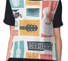 Guitar Collage Chiffon Top