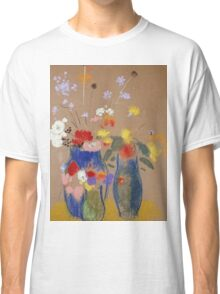 Odilon Redon - Three Vases Of Flowers. Still life with flowers: flowers, blossom, nature, botanical, floral flora, wonderful flower, plants, cute plant for kitchen interior, garden, vase Classic T-Shirt