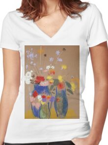 Odilon Redon - Three Vases Of Flowers. Still life with flowers: flowers, blossom, nature, botanical, floral flora, wonderful flower, plants, cute plant for kitchen interior, garden, vase Women's Fitted V-Neck T-Shirt