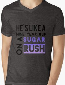 He is like a nine year old... Mens V-Neck T-Shirt