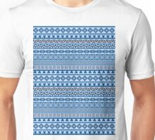 Aztec Influence Pattern Blues Black White Unisex T-Shirt