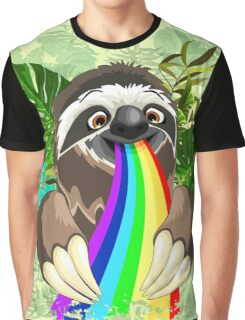 Sloth Spitting Rainbow Colors Graphic T-Shirt