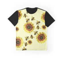 Yellow Sunflowers and Honey Bees Summer Pattern Graphic T-Shirt