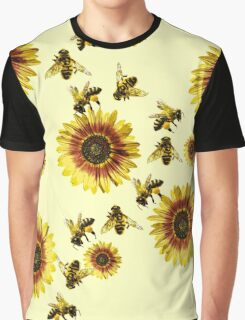 Yellow Sunflowers and Honey Bees Summer Pattern Graphic T-Shirt