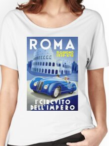 """ROMA VINTAGE GRAND PRIX"" Auto Racing Print Women's Relaxed Fit T-Shirt"