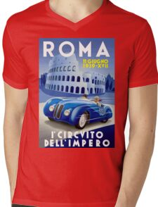 """ROMA VINTAGE GRAND PRIX"" Auto Racing Print Mens V-Neck T-Shirt"