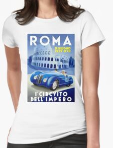 """""""ROMA VINTAGE GRAND PRIX"""" Auto Racing Print Womens Fitted T-Shirt"""