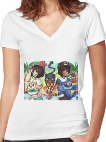 Pokemon Sun and Moon Women's Fitted V-Neck T-Shirt