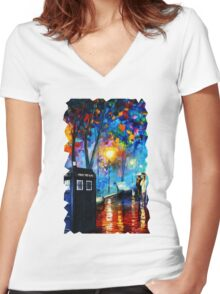 Tardis Romantic Night Women's Fitted V-Neck T-Shirt