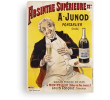 Unknown - Absinthe Superieure Beverage Poster. Man portrait: alcoholic, drinker, drunkard, wino,  fun,  hangover, humor, bottle, glass,  joy, meeting Canvas Print