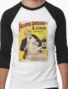 Unknown - Absinthe Superieure Beverage Poster. Man portrait: alcoholic, drinker, drunkard, wino,  fun,  hangover, humor, bottle, glass,  joy, meeting Men's Baseball ¾ T-Shirt