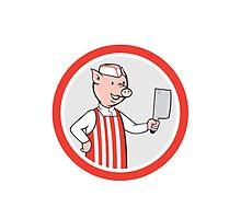 Pig Butcher Holding Knife Cartoon by patrimonio