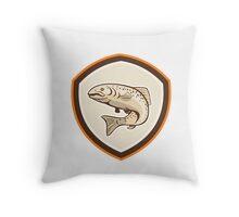 Rainbow Trout Jumping Cartoon Shield Throw Pillow