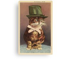 Unknown - Cat Wearing A Hat. Cat portrait: cat, whiskered, striped, important, clever, proud, fat, fashionable, stylish, hat, bow Canvas Print