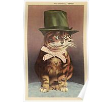 Unknown - Cat Wearing A Hat. Cat portrait: cat, whiskered, striped, important, clever, proud, fat, fashionable, stylish, hat, bow Poster