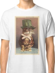 Unknown - Cat Wearing A Hat. Cat portrait: cat, whiskered, striped, important, clever, proud, fat, fashionable, stylish, hat, bow Classic T-Shirt
