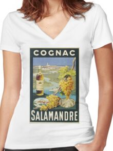 Unknown - Cognac Salamandre Poster. Still life with fruits and vegetables: alcohol, bottle, wineglass, pleasure, fruit, grapes, meeting, output, party,  cafe,  restaurant Women's Fitted V-Neck T-Shirt