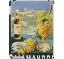 Unknown - Cognac Salamandre Poster. Still life with fruits and vegetables: alcohol, bottle, wineglass, pleasure, fruit, grapes, meeting, output, party,  cafe,  restaurant iPad Case/Skin