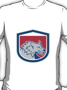 Angry Wolf Wild Dog Head Shield Cartoon T-Shirt