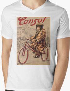 Unknown - Consul Poster. Man portrait: chimpanzee, Consul, Man , Chimp, star , rides, bicycle, chauffeur, manly, sexy men, macho Mens V-Neck T-Shirt
