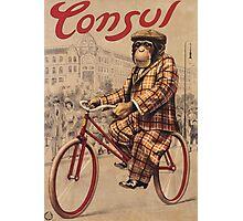 Unknown - Consul Poster. Man portrait: chimpanzee, Consul, Man , Chimp, star , rides, bicycle, chauffeur, manly, sexy men, macho Photographic Print